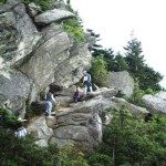 Rock climbing at Grandfather Mountain.