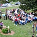 A bird's eye view of the community coming together to celebrate local farmers and food during the Farm to Fork Dinner.