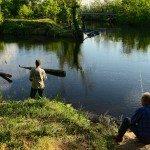 Fishing from the banks of the Nantahala Lake. (Photo by  Eric Haggart)