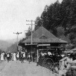 Main Street Saluda, circa 1920.  Among the passengers, were artists and writers looking for a mountain retreat.