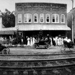 Saluda residents waiting train's arrival in front of Thompson's Store, ca 1910.