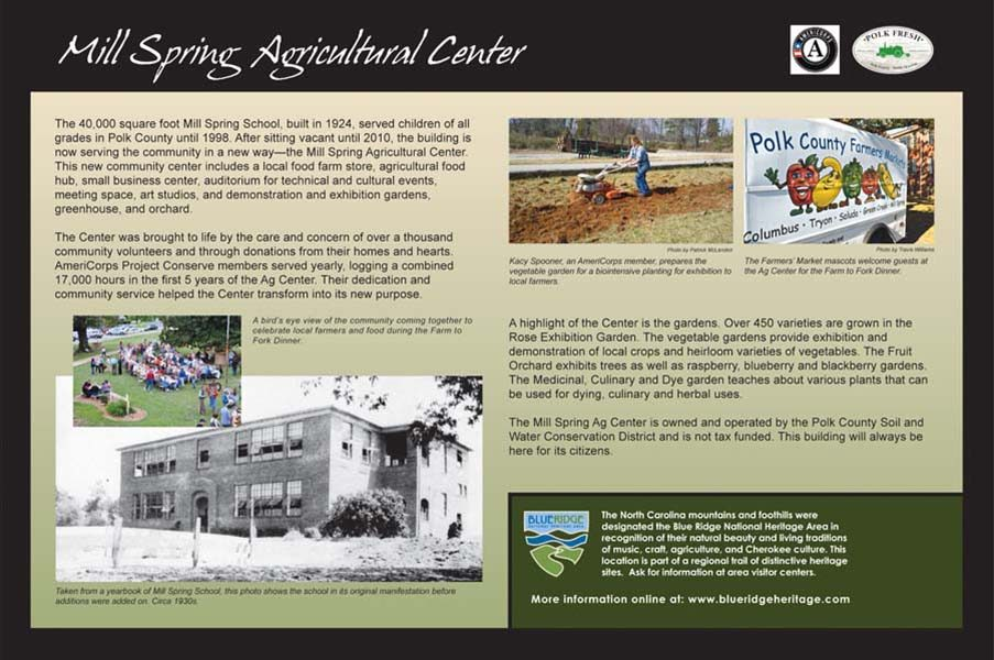 Mill Spring Agricultural Center Sign