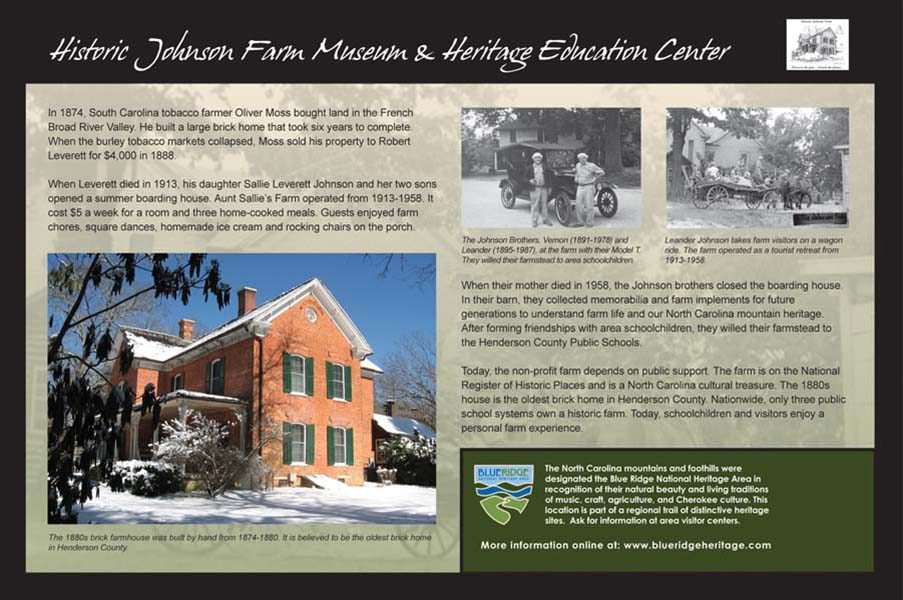 Historic Johnson Farm Museum Sign