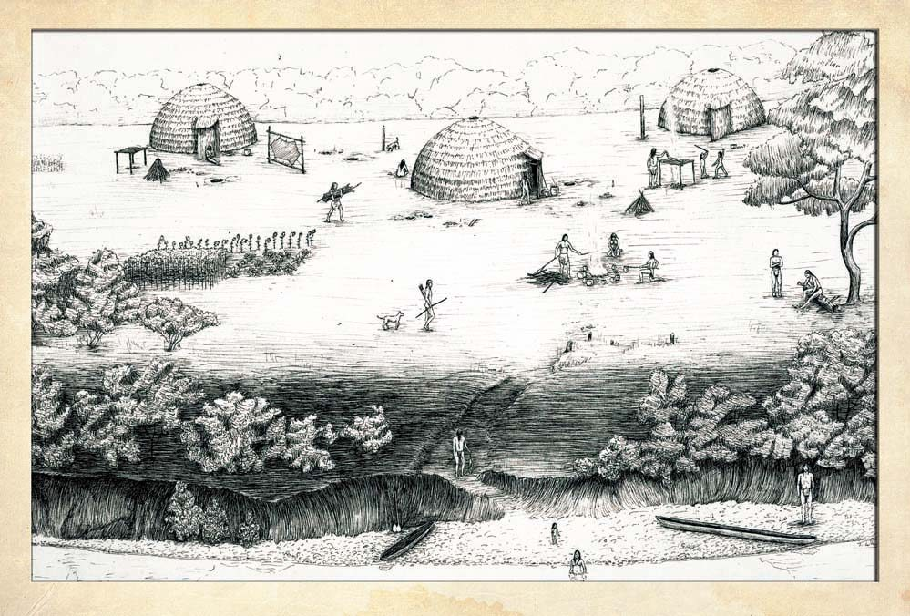 Illustration of typical Cherokee village, Woodland period settlement, ca. A.D. 350. Villages such as these were located throughout the Southern Appalachian mountains.Drawing by Thomas R. Whyte.Courtesy McClung Museum of Natural History and Culture, University of Tennessee, Knoxville.