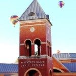 Hot air balloons over Civic Center Tower, Statesville.