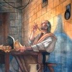 Apostle Paul writing his epistles from prison.
