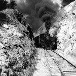 "Original ""Tweetsie"" engine steams up the track."