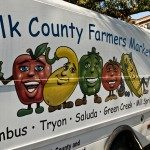 Farmers' market Truck  – Credit Travis Williams – The Farmers' Market mascots welcome guests at the Ag Center for the Farm to Fork Dinner.
