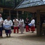 The Oconaluftee Indian Village Traditional Dancers perform the Corn Dance on the Village Square Grounds.