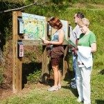 Kiosk gives visitors information about trails and gardens.